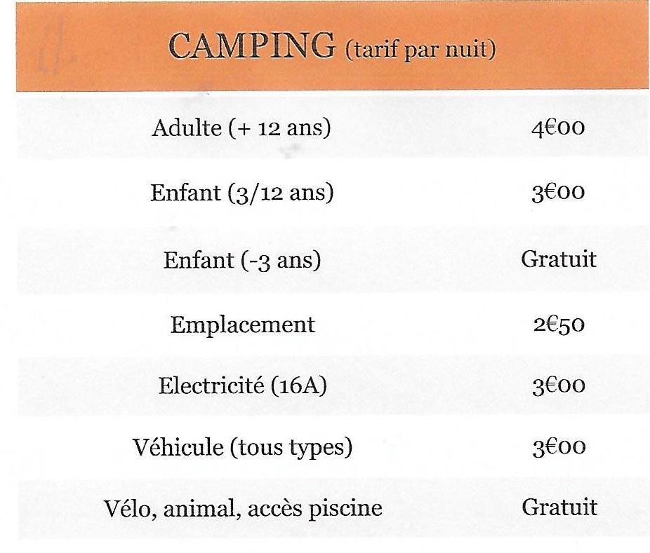 tarif le Rû du pré camping